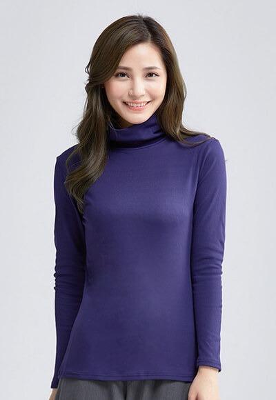 MIT羅紋溫灸刷毛高領發熱衣(湛海藍 女S-XL)