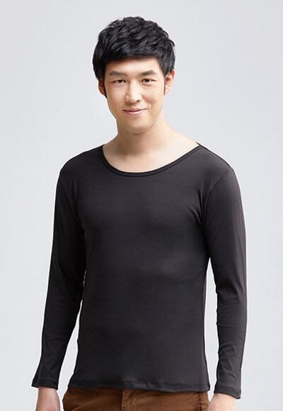MIT羅紋溫灸刷毛圓領發熱衣(經典黑 男M-XXL)