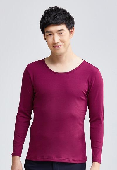 MIT羅紋溫灸刷毛圓領發熱衣(醇酒紅 男M-XXL)