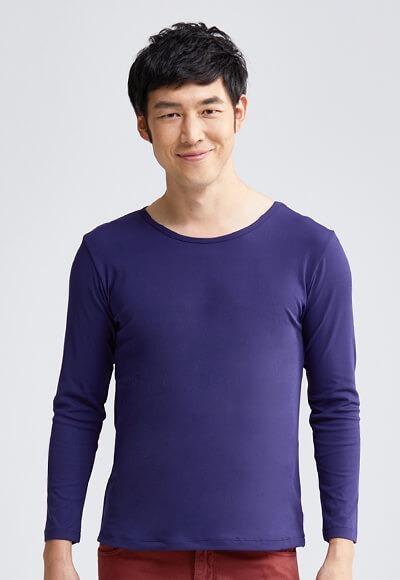 MIT羅紋溫灸刷毛圓領發熱衣(湛海藍 男M-XXL)