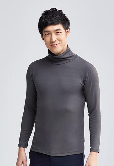 MIT羅紋溫灸刷毛高領發熱衣(銀河灰 男M-XXL)