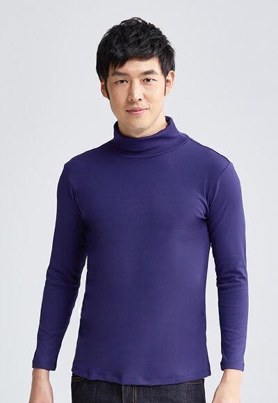 MIT羅紋溫灸刷毛高領發熱衣(湛海藍 男M-XXL)