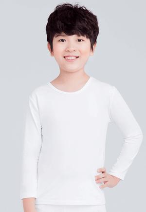 MIT溫灸刷毛圓領發熱衣(純淨白 童70-150)