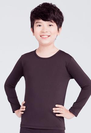 MIT溫灸刷毛圓領發熱衣(經典黑 童70-150)