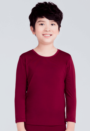MIT溫灸刷毛圓領發熱衣(醇酒紅 童70-150)