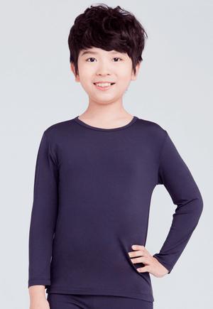 MIT溫灸刷毛圓領發熱衣(湛海藍 童70-150)