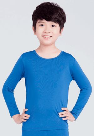 MIT溫灸刷毛圓領發熱衣(翡翠藍 童70-150)