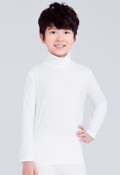 MIT溫灸刷毛高領發熱衣(純淨白 童70-150)