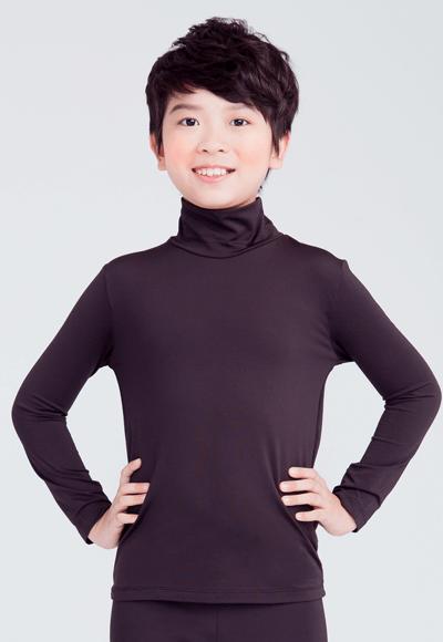 MIT溫灸刷毛高領發熱衣(經典黑 童70-150)