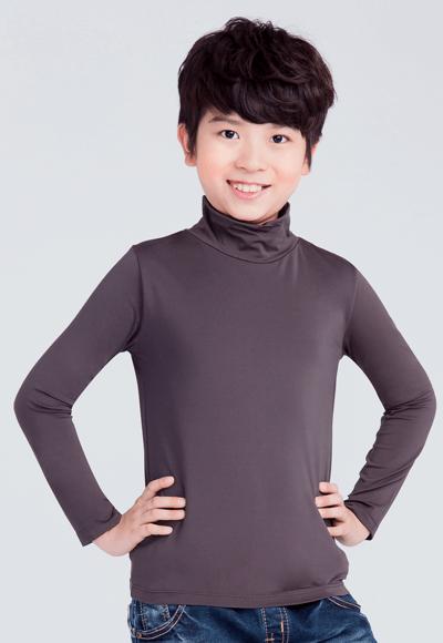 MIT溫灸刷毛高領發熱衣(銀河灰 童70-150)