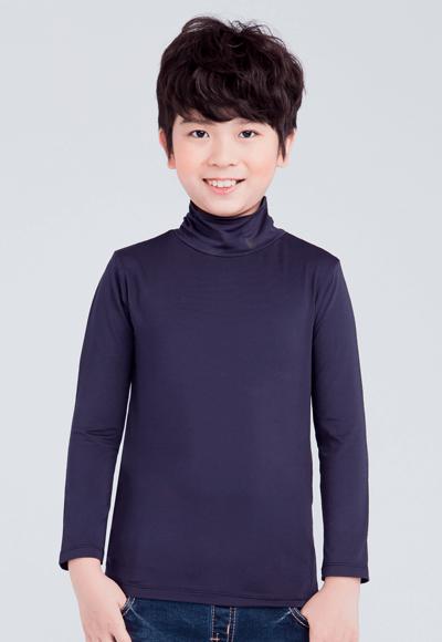 MIT溫灸刷毛高領發熱衣(湛海藍 童70-150)