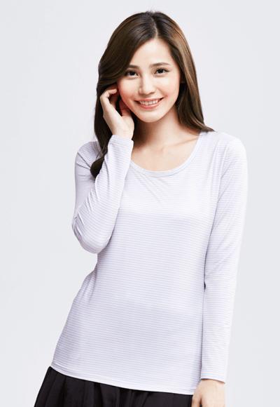 MIT 細條紋溫灸刷毛圓領發熱衣(粉藍色 女S-XL)