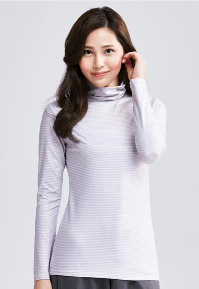MIT 細條紋溫灸刷毛高領發熱衣(粉藍色 女S-XL)