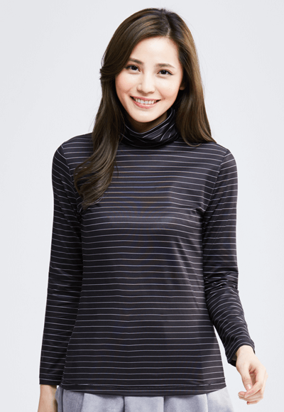 MIT 寬條紋溫灸刷毛高領發熱衣(黑白色 女S-XL)
