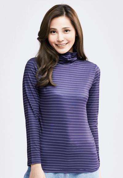 MIT 寬條紋溫灸刷毛高領發熱衣(藍白色 女S-XL)