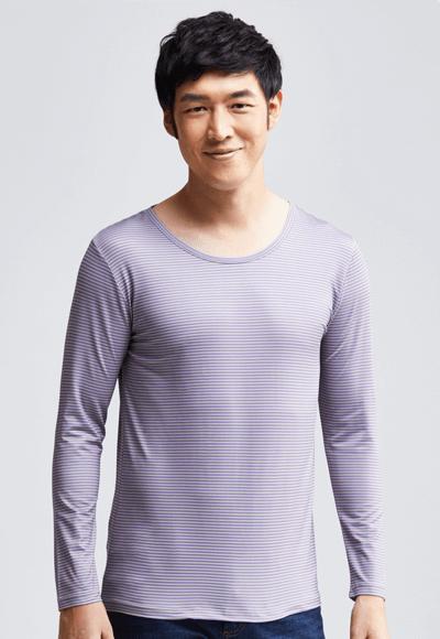 MIT 細條紋溫灸刷毛圓領發熱衣(灰紫色 男M-XXL)