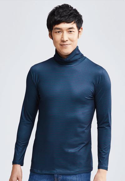 MIT 細條紋溫灸刷毛高領發熱衣(綠藍色 男M-XXL)