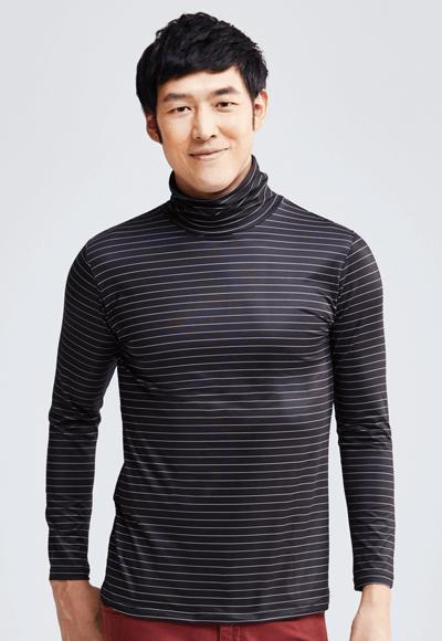 MIT 寬條紋溫灸刷毛高領發熱衣(黑白色 男M-XXL)