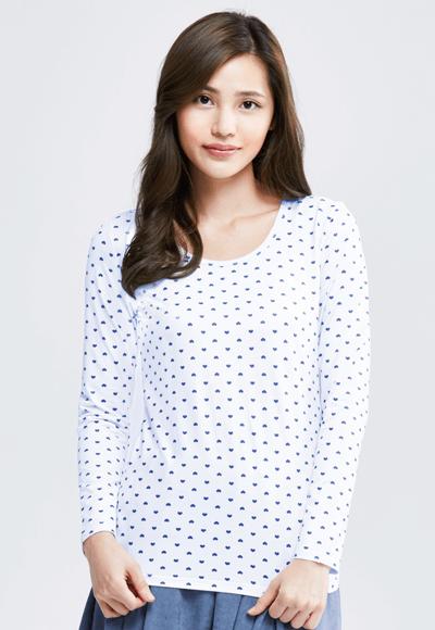 MIT 愛心溫灸刷毛圓領發熱衣(白藍色 女S-XL)