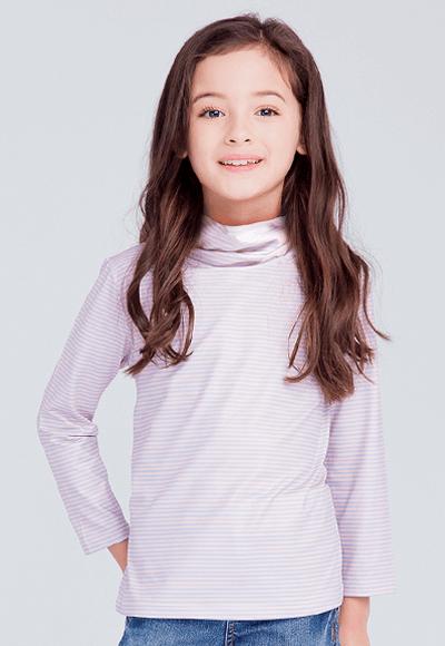 MIT 細條紋溫灸刷毛高領發熱衣(粉藍 童80-150)