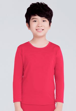 MIT溫灸刷毛圓領發熱衣(朝陽紅 童70-150)