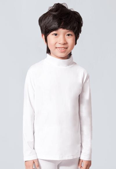 MIT溫灸刷毛立領發熱衣(純淨白 童70-150)