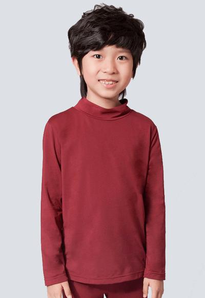 MIT溫灸刷毛立領發熱衣(醇酒紅 童70-150)