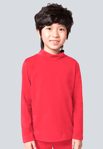 MIT溫灸刷毛立領發熱衣(朝陽紅 童70-150)