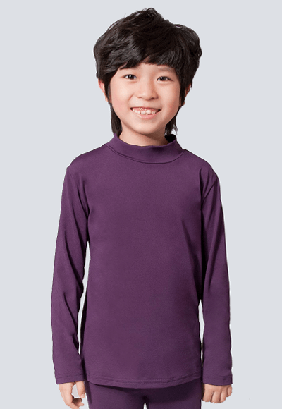 MIT溫灸刷毛立領發熱衣(羅蘭紫 童70-150)