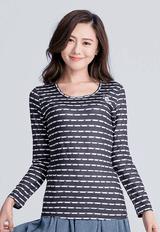 【為愛加衣】米奇條溫灸刷毛圓領發熱衣(黑白色 女S-2XL)