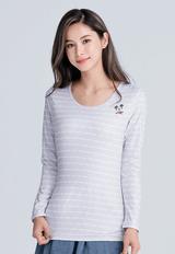 【為愛加衣】米奇條溫灸刷毛圓領發熱衣(灰白色 女S-2XL)