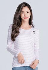 【為愛加衣】米奇條溫灸刷毛圓領發熱衣(白粉色 女S-2XL)