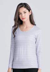 【為愛加衣】北歐米奇溫灸刷毛圓領發熱衣(灰白色 女S-2XL)