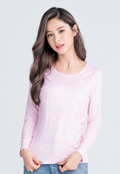 【為愛加衣】插畫米奇溫灸刷毛圓領發熱衣(粉白色 女S-2XL)