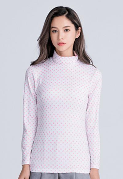 經典米奇溫灸刷毛高領發熱衣(白粉色 女S-2XL)