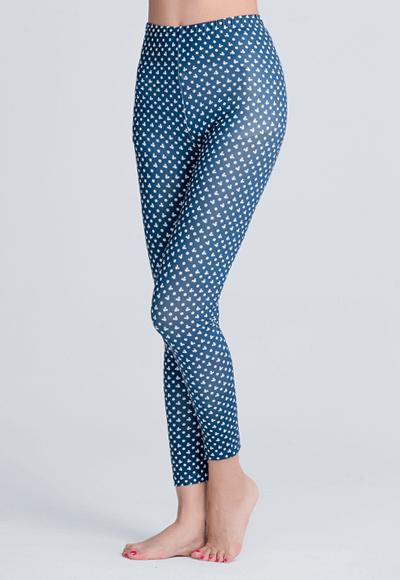 米奇點點溫灸刷毛九分發熱褲(藍白色 女S-2XL)