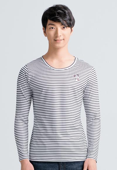 橫條米奇溫灸刷毛圓領發熱衣(白灰色 男S-3XL)