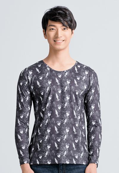 【為愛加衣】米奇Tool溫灸刷毛圓領發熱衣(經典黑 男S-3XL)