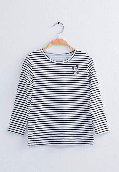 橫條米奇溫灸刷毛圓領發熱衣(白灰色 童100-150)