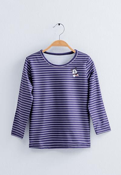 橫條米奇溫灸刷毛圓領發熱衣(藍灰色 童100-150)
