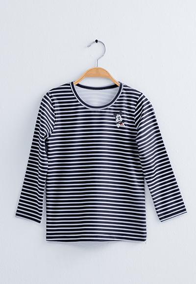 橫條米奇溫灸刷毛圓領發熱衣(黑灰色 童100-150)