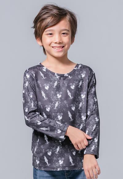 【為愛加衣】米奇Tool溫灸刷毛圓領發熱衣(經典黑 童100-150)