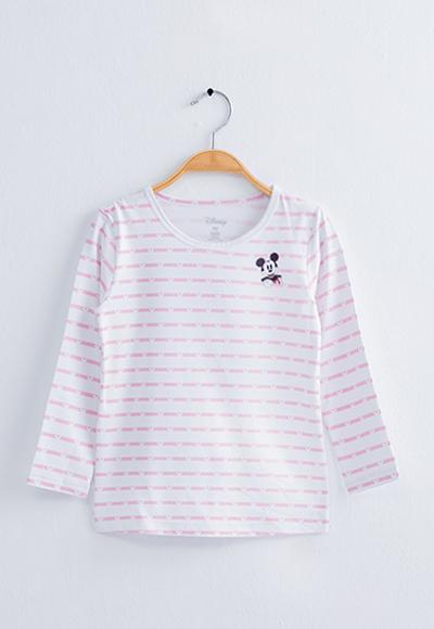 米奇條溫灸刷毛圓領發熱衣(白粉色 童100-150)
