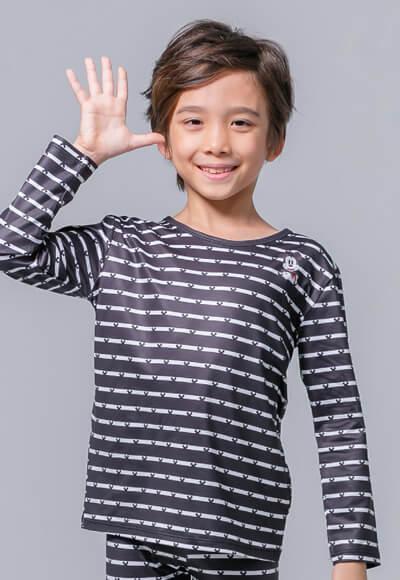 米奇條溫灸刷毛圓領發熱衣(黑白色 童100-150)