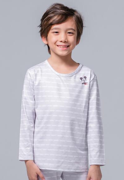 米奇條溫灸刷毛圓領發熱衣(灰白色 童100-150)