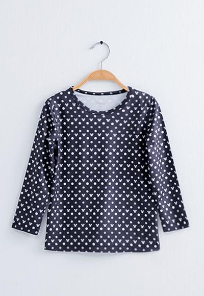 經典米奇溫灸刷毛圓領發熱衣(黑白色 童100-150)