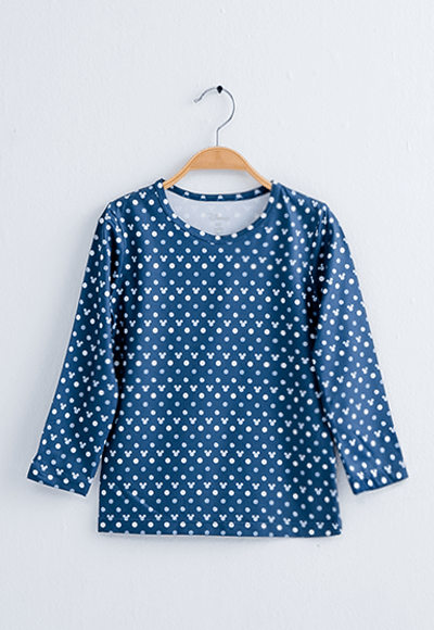 經典米奇溫灸刷毛圓領發熱衣(藍白色 童100-150)