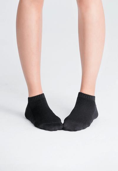 MIT發熱抑菌按摩船型襪(經典黑 女M-L)