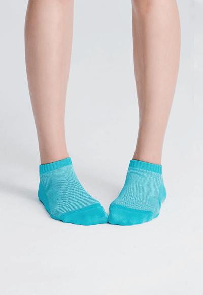 MIT發熱抑菌按摩船型襪(湖水藍 女M-L)