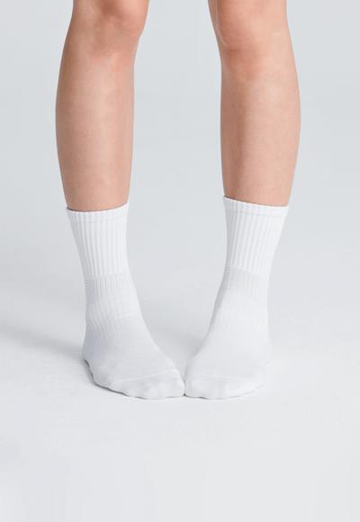 MIT發熱抑菌按摩中筒襪(純淨白 女M-L)